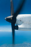 Rotating propeller. Seen from inside a commercial plane Stock Photo