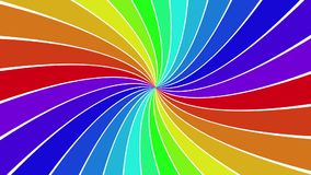 Rotating rainbow spiral ray burst background stock footage