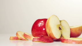Rotating Red Apple - Overhead. Apples rotation on the table, close-up stock video footage