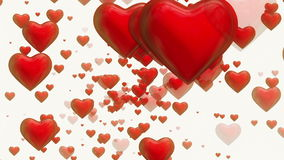 Rotating red hearts on white stock illustration