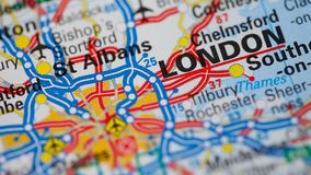 Rotating road map of England ending in London. Rotating road map of England or United Kingdom ending in the capital city of London stock video