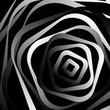 Rotating rounded corner squares. Abstract monochrome graphic. Royalty Free Stock Photo