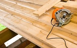 Rotating saw on timber, carpenter tools abstract Royalty Free Stock Photo