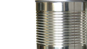 Rotating shiny metal can stock footage