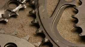 Rotating shot of gears stock footage