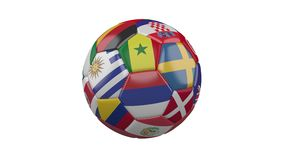 Rotating soccer ball with flags of countries participating in the World Cup about football in Russia on  white background, loop. ю stock footage