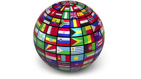 Rotating sphere with world flags stock footage