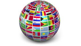 Rotating sphere with world flags stock video footage