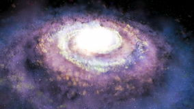 Rotating spiral galaxy - deep space exploration stock video footage