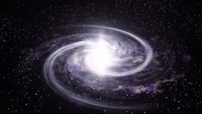 Rotating spiral galaxy deep space exploration. Space background. Seamless loop.