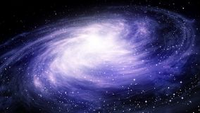 Rotating spiral to the galaxy in bright blue and white colors
