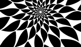 Rotating spiral symmetrical pattern. Abstract black silhouette vector illustration