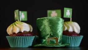 Rotating St Patricks Day cupcakes stock footage