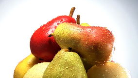 Rotating stack of organic pears stock video