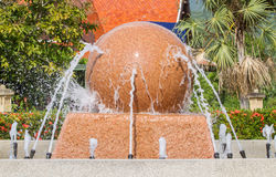 Rotating stone sphere water fountains. Stock Photos