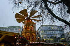 The rotating tower at the Rindermarkt Christmas market in Munich Royalty Free Stock Photo