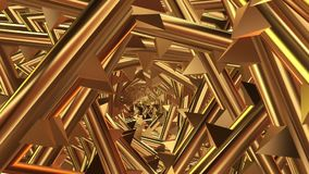 Rotating tunnel with spikes in golden color stock footage