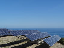 Solar panels by sea Royalty Free Stock Images