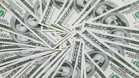 Rotating 100 US dollars bank notes. Business background stock video