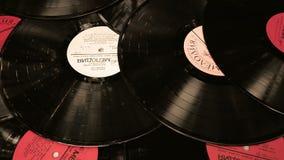 Rotating vinyl records stock video footage
