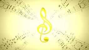 Rotating violin clef & music sheets, loop stock video footage