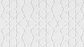 Rotating white arabic pattern, arabesque. Close-up of white abstract geometric background with stars. Ramadan graphic stock video footage
