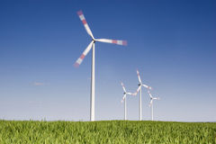 Rotating wind-turbines Stock Photo