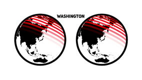 A rotating world with divergent and converging circles from the capital of the United States of Washington stock video