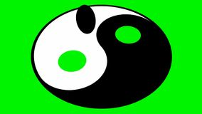 Rotating yin yang symbol stock video footage