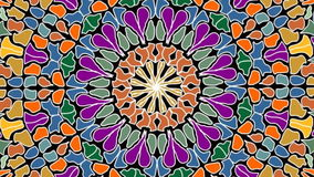 Rotating and zooming multicolored mosaic circle shape, video background composed of colorful fragments vector illustration