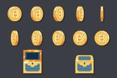 Rotation Animation Coin Bitcoin technology digital money internet currency icon vector illustration Stock Photos