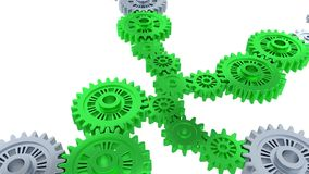 Rotation around Perspective View of Silver Gears in Rotation becoming Green step by step. With a white background royalty free illustration