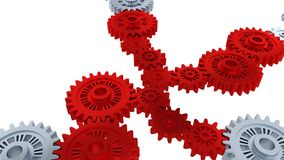 Rotation around perspective view of silver gears in rotation becoming red step by step. With a white background stock video