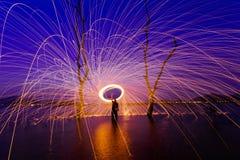 Rotation brûlante de laine en acier Photo libre de droits