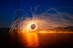 Rotation brûlante de laine en acier Image libre de droits