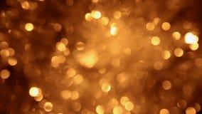 Rotation of Christmas golden defocused lights. stock video footage