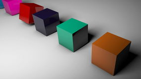 The rotation of cubes of different colors on the floor. 3d rendered Stock Image