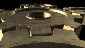 Rotation de cinq vitesses d'or Fond noir Fin vers le haut Alpha Channel illustration de vecteur