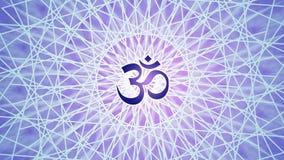 Rotation de mandala dans des couleurs bleues et pourpres Modèle tournant circulaire Aum, OM, ohm Vidéo de Psyhedelic illustration stock