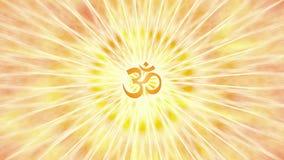Rotation de mandala dans des couleurs oranges et jaunes Modèle tournant circulaire Aum, OM, ohm Vidéo de Psyhedelic illustration stock
