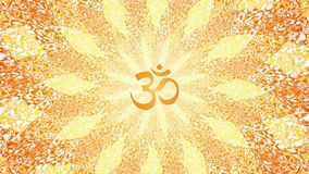 Rotation de mandala dans des couleurs oranges et jaunes Modèle tournant circulaire Aum, OM, ohm Vidéo de Psyhedelic illustration libre de droits