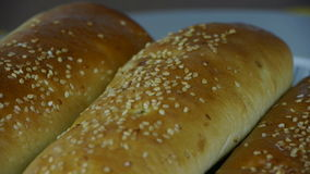 Rotation of delicious bread. stock footage