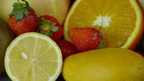 Rotation of delicious fruit plate. stock video footage