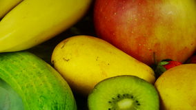 Rotation of delicious fruit plate. stock footage
