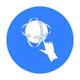 Rotation der Kugel in der Ikone der virtuellen Realität in der schwarzen Art lokalisiert auf weißem Hintergrund Symbolvorrat der  Lizenzfreie Stockfotos