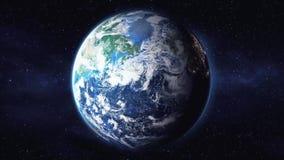 Rotation der Planetenerdansicht vom Raum auf einem schwarzen Hintergrund 1920 stock abbildung