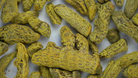 Rotation dry turmeric cucurma roots. Spice background stock video