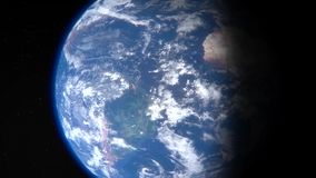 The rotation of the earth in the zoom stock footage