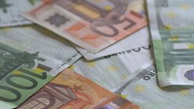 Rotation Of Euro Banknotes. Currency of EU stock footage