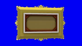 Gold picture frame rotates around on blue background, chroma key, seamless loop. 3D animation with tv noise and green. Rotation of gold picture frame with tv stock video footage